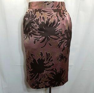 Blumarine silk skirt pink brown floral print skirt